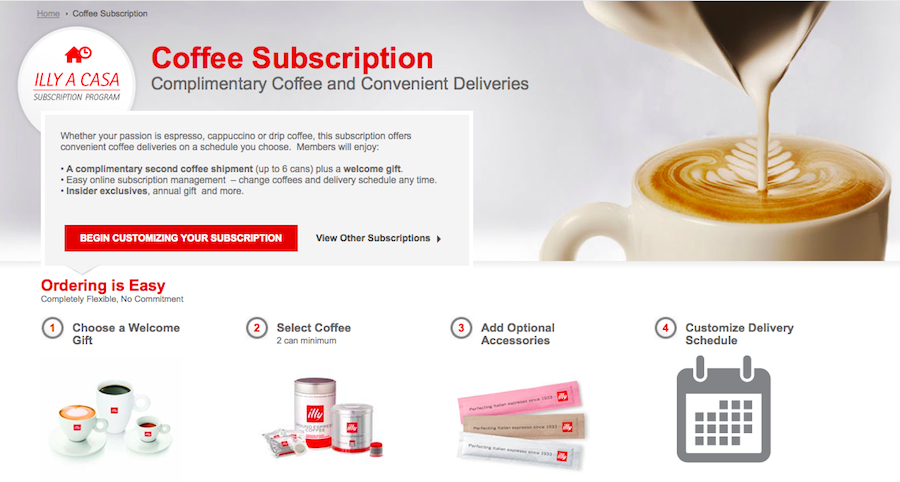 illy subscription page